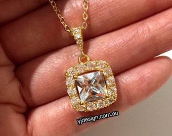 Gold Bridal Necklace, Geometric Bridal Jewelry, Square Wedding Necklace, Princess Cut Jewelry, Cz Wedding Jewelry, Silver Necklace, DIAMANT