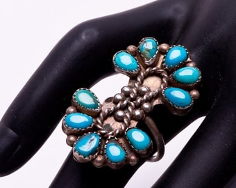 Cluster Turquoise Ring - 70s Sterling Navajo -  sz 5