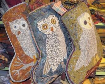 3 Owl Stockings designs rug hooking pattern