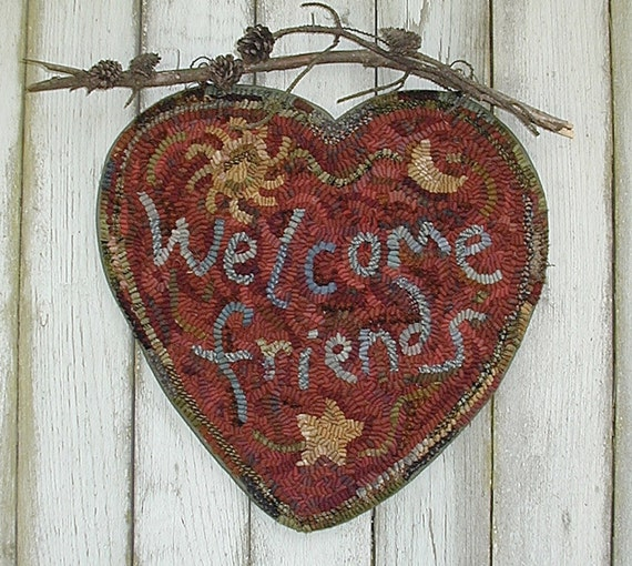 Rug Hooking Designs Primitive: Welcome Heart 3 Choices Rug Hooking Pattern