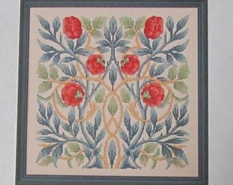"William Morris ""Rose"" Counted Cross Stitch Chart - Arts & Crafts Movement"