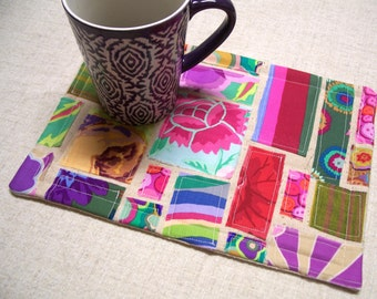 Kaffe Fassett Fabric Mug Rug, Snack Mat, Candle Mat, Applique Patchwork, Made in America