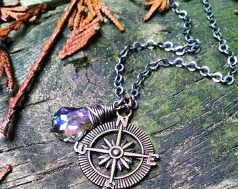 Compass and Swarovski Crystal Necklace
