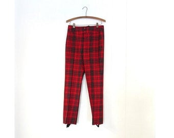 """Vintage Ski Pants / 60s Pants / Red Plaid Pants / Stirrup Pants / Made in Norway / 32"""" Waist"""