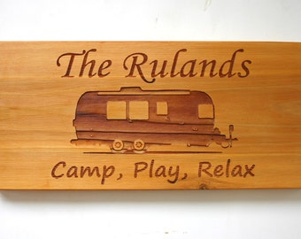 Airstream Trailer Camping Custom Engraved Cedar Sign Laser Engraved Wood Family Sign Personalized Trailer Sign