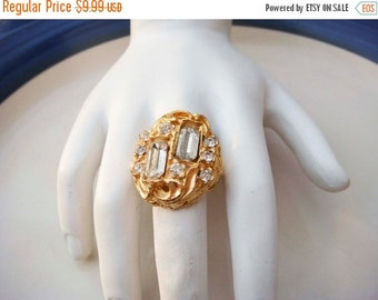Summer Clear Out SALE Vintage Adjustable Gold Toned Ring with Rhinestones