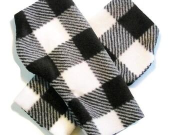 MENS Fingerless Gloves / Mittens Warmers - Black and White Checked Fleece