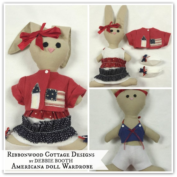 "Sewing Pattern Americana Clothing Collection Emma Joy Bunny PDF pattern-11"" Doll clothes only"