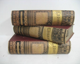 Vintage Macaulays Essays 3 Vol Book Set ca: 1860 Very Fancy Gold Design Antique Macaulay History Books