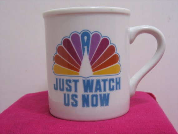 Vintage NBC Peacock Coffee Mug, Just Watch Us Now Coffee Cup from 1982, TV Television Station Advertising