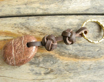 Leather Celtic Button Knots Keyring with Mediterranean Touch Stone --  Keychain Key Ring