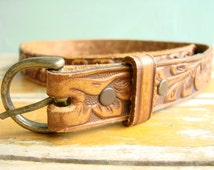 Vintage COWGIRL Belt -- Petite Tooled leather belt, Classic Southwestern design, Ranch and Country belt