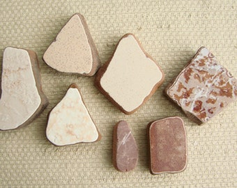 7 Large and Thick Terracotta Tile Shards --  Pendant Sizes (TL155) Mediterranean Beach Tiles, Statement Sea tiles, Shades of Brown