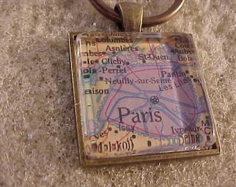 Atlas Map Key Chain / Paris Key Chain / Map Keychain / Paris Key Ring