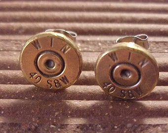 Bullet Earrings 40 Caliber Smith & Wesson Brass Handgun Shell - Free Shipping to USA