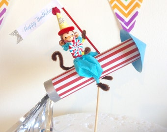 Monkey Riding Rocket Cake Topper/Decoration/Birthday Party/Circus Cake