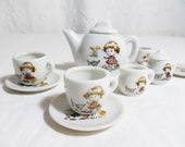 Toy China Tea Set Little Girl and Puppy Dog and Bird