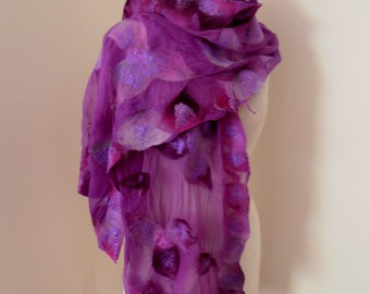 Purple Silk Merino nuno felted silk gauze scarf by plumfish