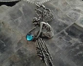 Silver Pewter Art Nouveau Fairy Pendant Necklace