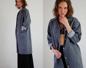 25% off every sunday sale Gray Denim Duster Coat Vintage Gray Minimalist Indie Urban Made in the USA Cotton Denim Coat (m l)