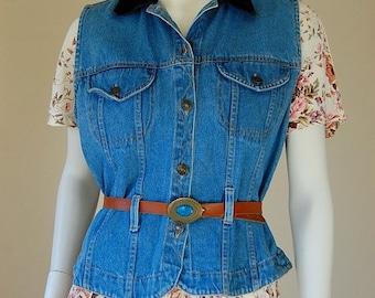 sale 25% every sunday Denim Vest Vintage 80s Blue Stonewashed Belted Boho Indie Denim Jean Vest (s m)