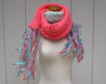 south beach. chunky knit scarf . handknit wool roving scarf . warm winter scarf . coral aqua miami colors long fringe scarf