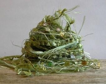 spanish moss fiber effects™  art yarn bundle 12yds specialty ribbons embellishment trim  . moss mint olive green sparkle yarn sampler pack