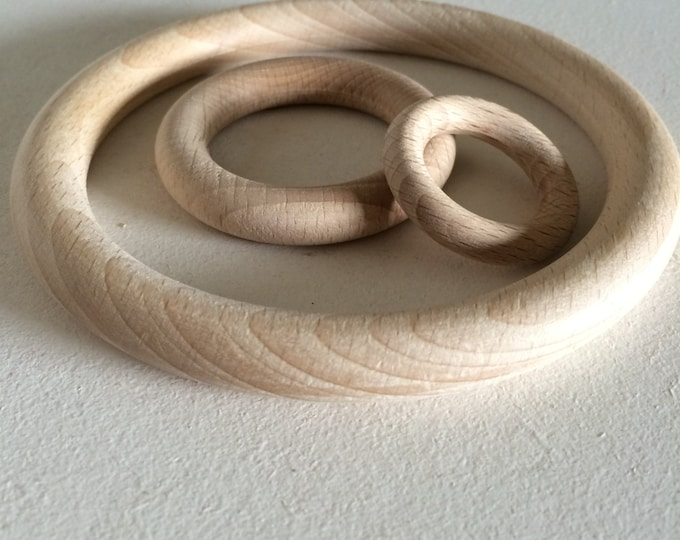 wooden ring, nude, for macramé. 3 sizes