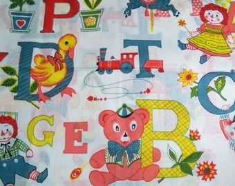 SALE - Vintage Children's Alphabet Children's Fabric