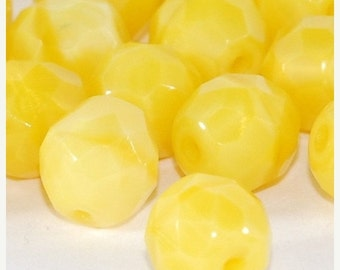 CLOSING SALE 50% OFF Yellow Milky Silk 10mm Faceted Round Czech Fire Polish Glass Bead - 4  (St484)