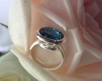 "London Blue Topaz Ring, Handforged Sterling ""Ara"" Design, Ready To Ship"