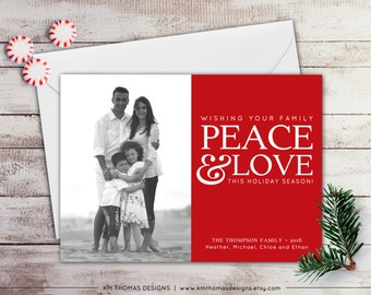 Photo Holiday Card - Printable Christmas Photo Card - Winter Holiday Photo Card - Peace and Love - Red - New Years Photo Card - WH120