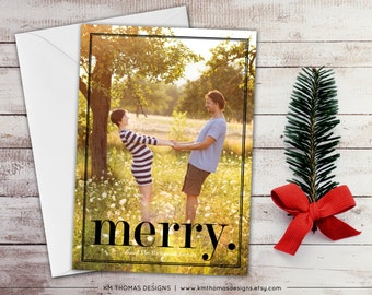 Photo Holiday Card - Christmas Photo Card - Merry Holiday Card - Printable Photo Card - Black Merry - Photo New Years Card - WH107