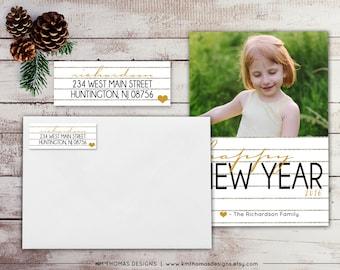 Personalized Return Address Label - Rectangular Printable Address Label - Gold Heart - Glitter Stripes - Holiday Address Label - WH109