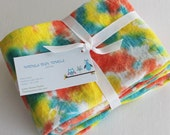 Hand Dyed Kitchen Towels - Flour Sack Tea Towel Set of 2 - Tie Dyed Dish Towels Yellow Bright Orange Turquoise Blue Teal White Fiesta Citrus