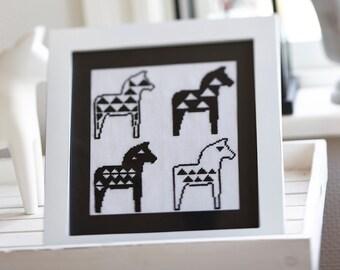 Cross stitch pattern SCANDI HORSE - embroidery patterns,scandinavian,swedish,black,cross stitch,needlepoint,dala horse,diy,anette eriksson