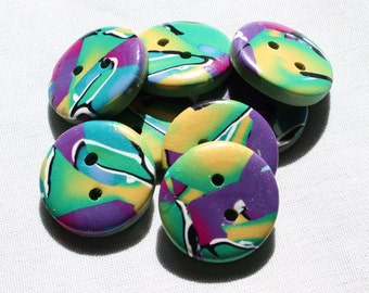 Purple, Green and White Button Handcrafted 1 inch No. 89