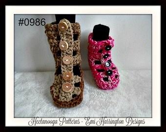 Gladiator Slippers, CROCHET PATTERN, baby, child, toddler, teen, adult, Easy pattern, #0986, crochet for men, boys, girls, women,
