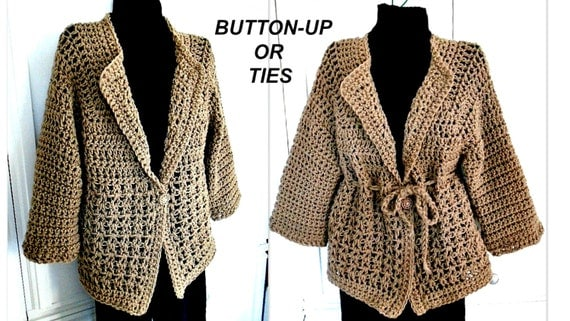 Crochet Xxl Patterns : Crochet PATTERN- Sweater, Jacket, Womens XXL - XXXL plus size, (48 ...