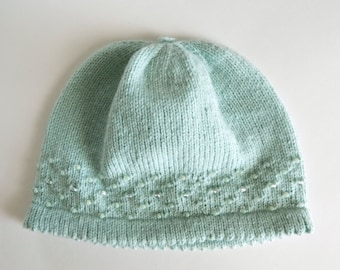 Knit Beaded Baby Hat Aquamarine 12-24 Months
