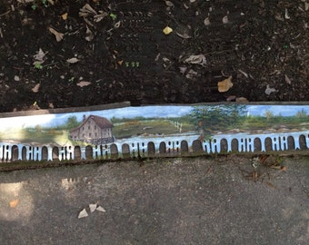 SALE Antique 5 Foot Long Cross-cut Saw OILPAINTED Mural WOODCUTTERS  LuMBERJAcK