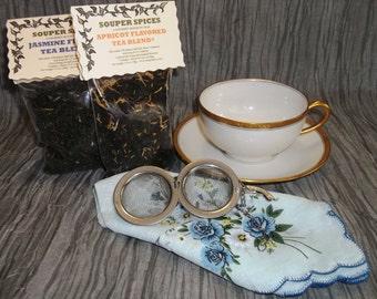 Tea Gift Set, Tea, Tea Set, Tea Cup, Tea Ball, Green tea, Loose Leaf Tea, Peach Tea, Hibiscus, Black Currant, Minty Licorice, Vintage 1920's