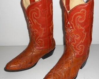 Mens 8.5 Cowboy Boots Ostrich Patchwork Tan Orange Vintage Womens 10 Shoes