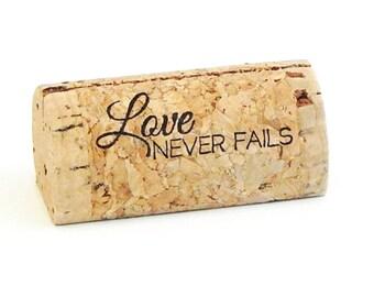 "Custom Printed Wine Cork Place Card Holders - ""Love Never Fails"""
