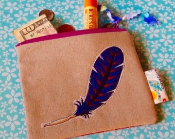 Cute Little Coin Purse Feather