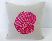 Hot Pink Sea Shell pillow cover  embroidery on Gray  -18 inch- Sea themed Pillow - Nautical