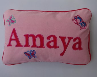 Personalized name pillows. Custom Made pink cushion cover name on hot pink with colourful buterflys embroidery.12 x18 nursery  pillow.