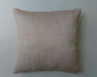 beige raw cotton decorative pillow. cotton pillow.  decorative cushion cover.  cotton throw pillow. 18inch        custom made.