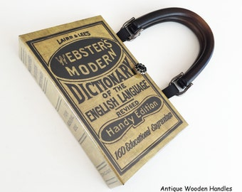 Websters Dictionary Book Purse - Dictionary Book Cover Handbag - English Teacher Gift - Modern Dictionary Book Clutch - Crossword Puzzle