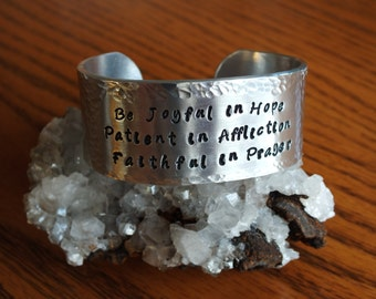 """Romans 12:12 - 1"""" Aluminum Prayer Cuff"""